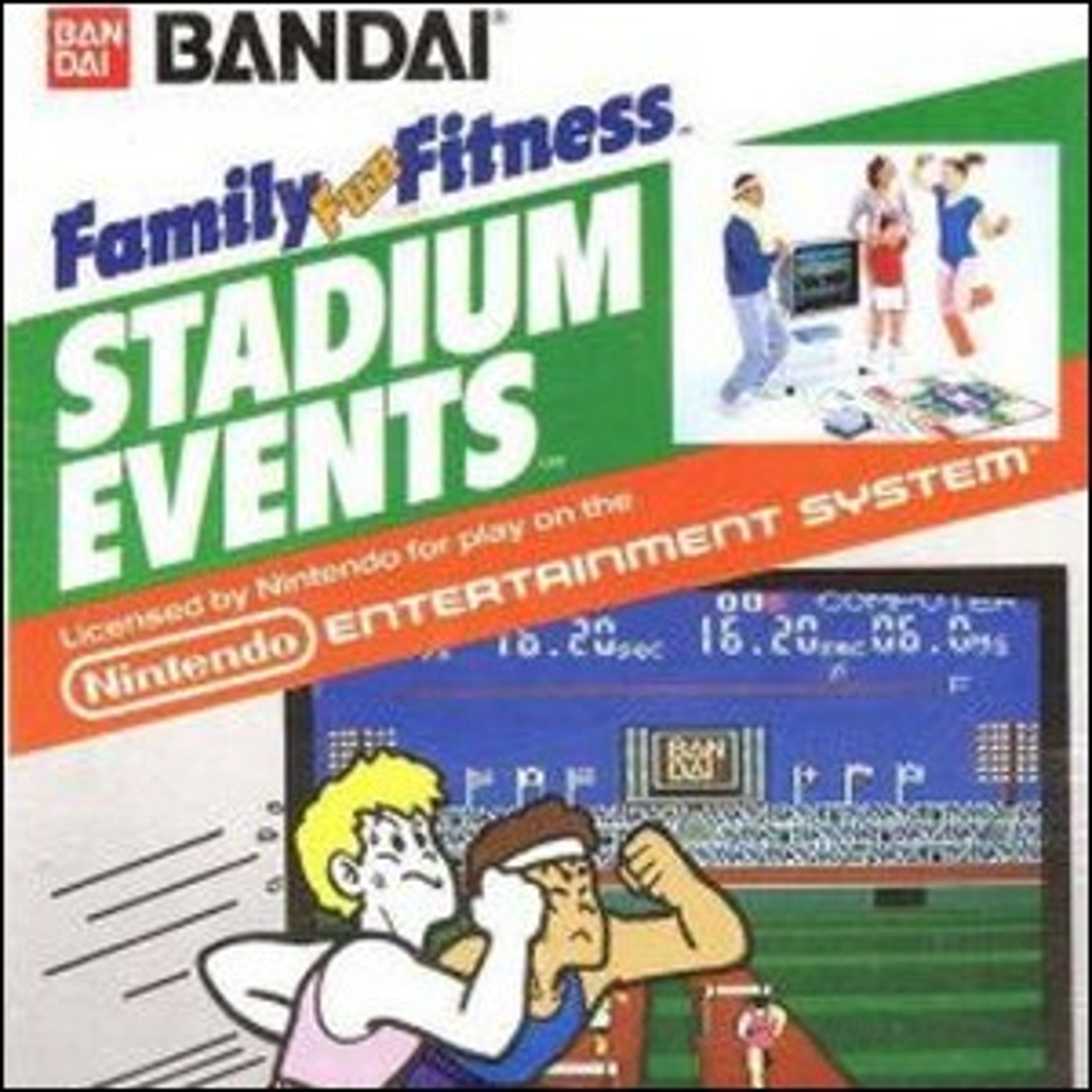 The front cover of the NES Stadium Events game.