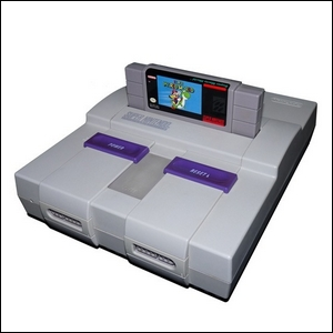 A photo of the Super Nintendo Entertainment System.