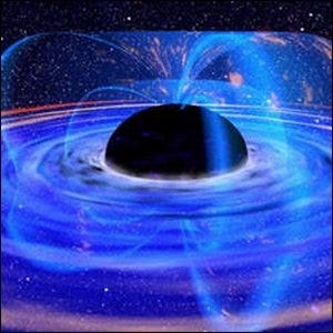 An artist's rendering of the radiation emitted by a black hole.