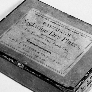 A box of early Eastman Kodak dry plates.