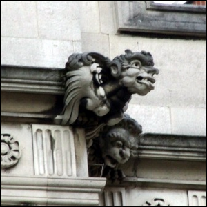A grotesque by Nathaniel Hitch on the exterior of 2 Temple Place, London.