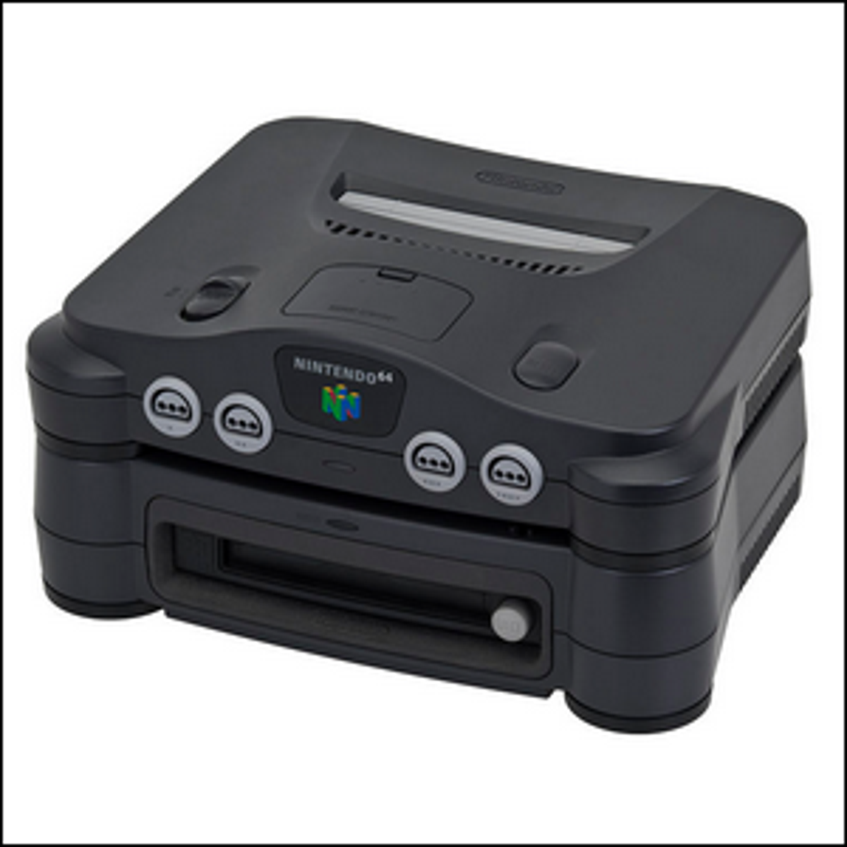 A Nintendo 64DD attached to a Nintendo 64 console.