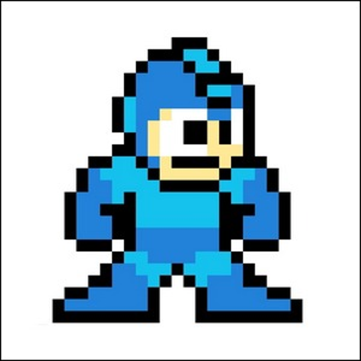 An example of Mega Man in sprite format as he appeared in early video games.