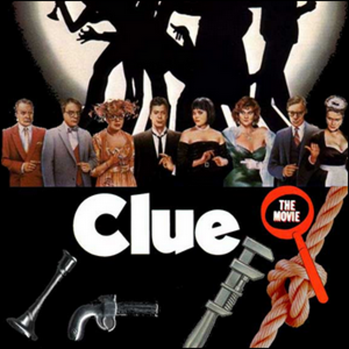 A movie poster for Clue, depicting the cast and the weapons used in the game and film.