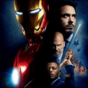 An Iron Man promotional photo featuring the principle cast and the Iron Man suit.
