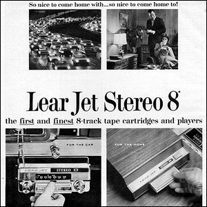 A 1960s era advertisement for the Lear Jet Stereo 8 sound system.
