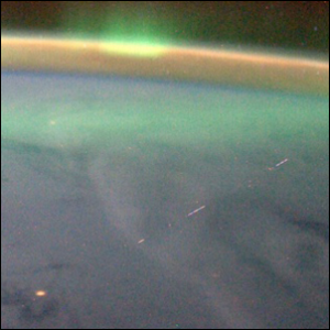 A cosmic ray that hit a camera appears as a segmented line in the photo.