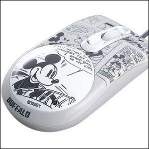 An optical mouse with actual Mickey Mouse artwork on it.