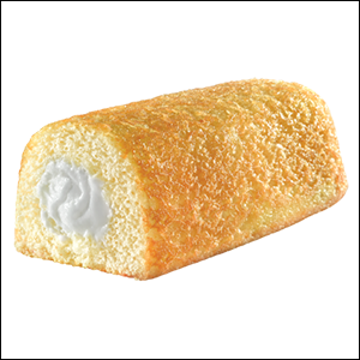 A Twinkie snack cake, with one end open to reveal the cream filling.