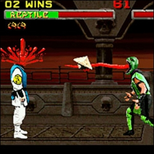 An example of a fatality in Mortal Kombat.