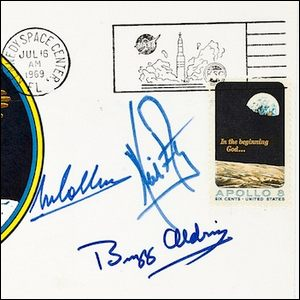 """An example of the """"insurance covers"""" signed by the Apollo 11 astronauts."""