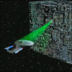 The Enterprise 1701-D facing a cube-shaped Borg ship, a classic example of greebling.