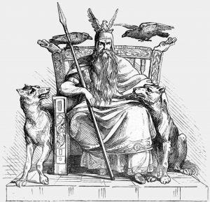 The Norse god Odin enthroned, flanked by his two wolfs, Geri and Freki, and his two ravens, Huginn and Muninn, and holding his spear Gungnir
