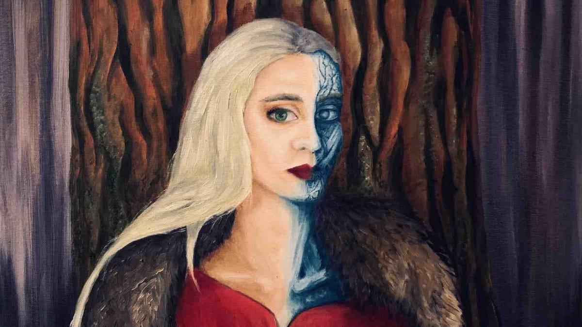 Image (painting) of Hel, daughter of Loki, from Norse Mythology, like described in Edda