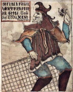 An illustration of Loki with a fishnet, from an Icelandic 18th century manuscript.