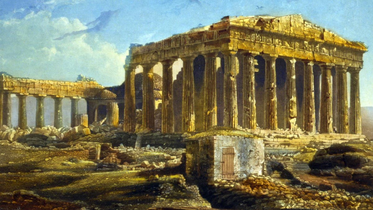 The Parthenon, Athens, Greece, print dated 1842