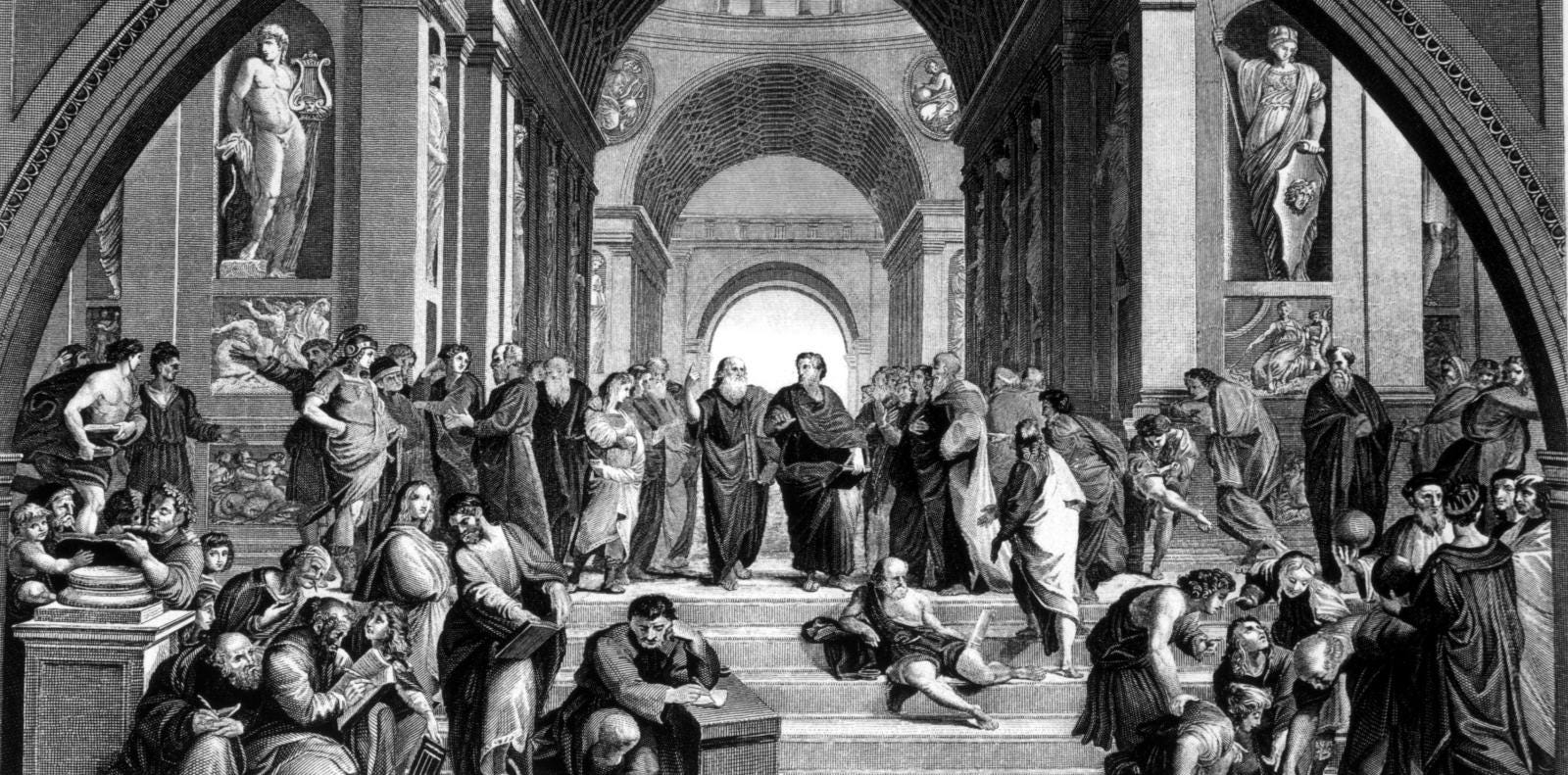 Socrates (center, left), at the school of Athens, 400 BC, Engraving after painting by Raphael