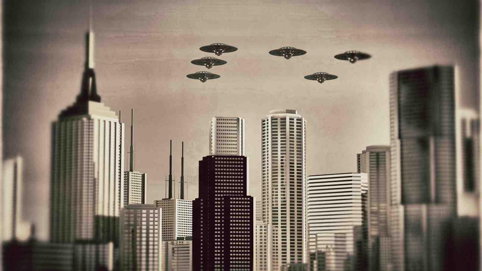 illustration of UFOs flying in formation above skyscrapers
