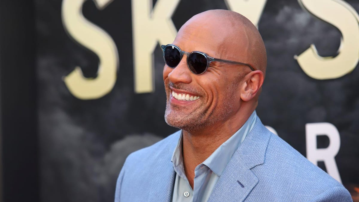 """Dwayne """"The Rock"""" Johnson attends the premiere of """"Skyscraper"""" at AMC Loews Lincoln Square on July 10, 2018,"""