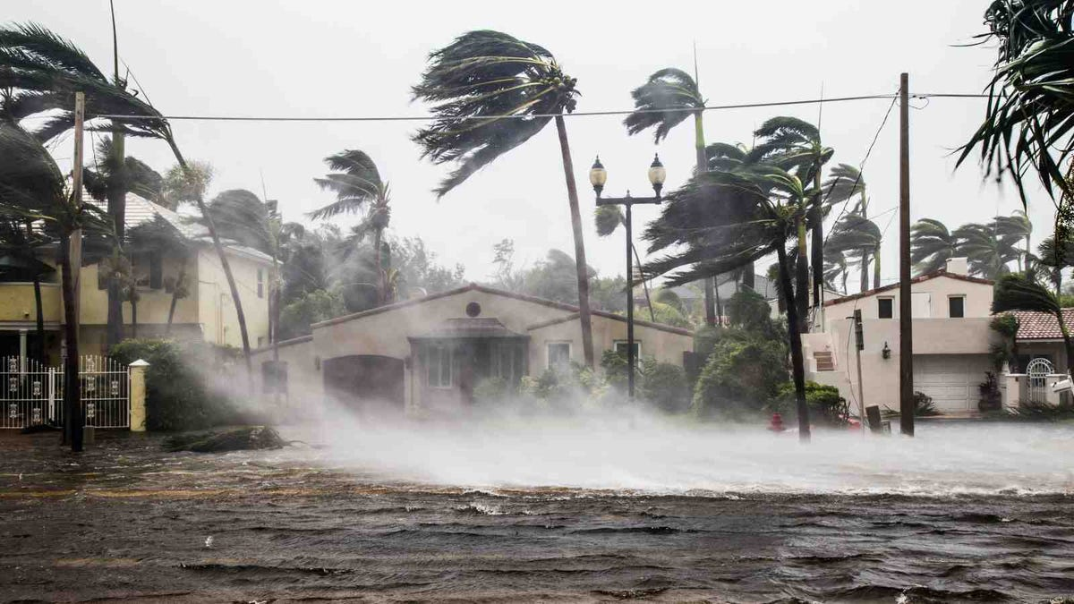 A flooded street after catastrophic Hurricane Irma hit Fort Lauderdale, FL