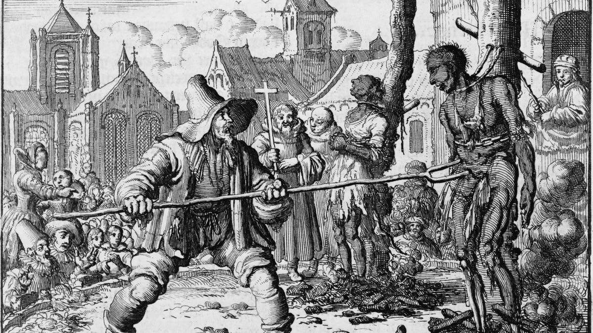 Execution of David van der Leyen and Levina Ghyselins Dutch Anabaptists or Mennonites by Catholic authorities in Ghent in 1554. From Bracht's MARTYR'S MIRROR 1660