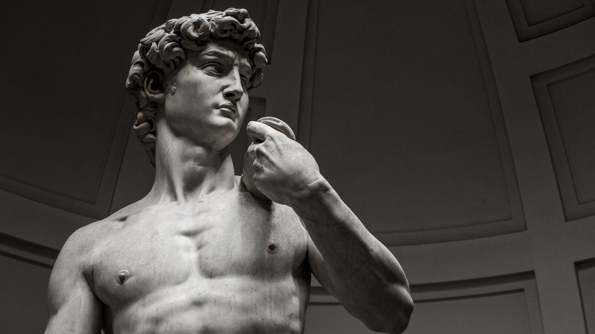Statue of David, in black and white