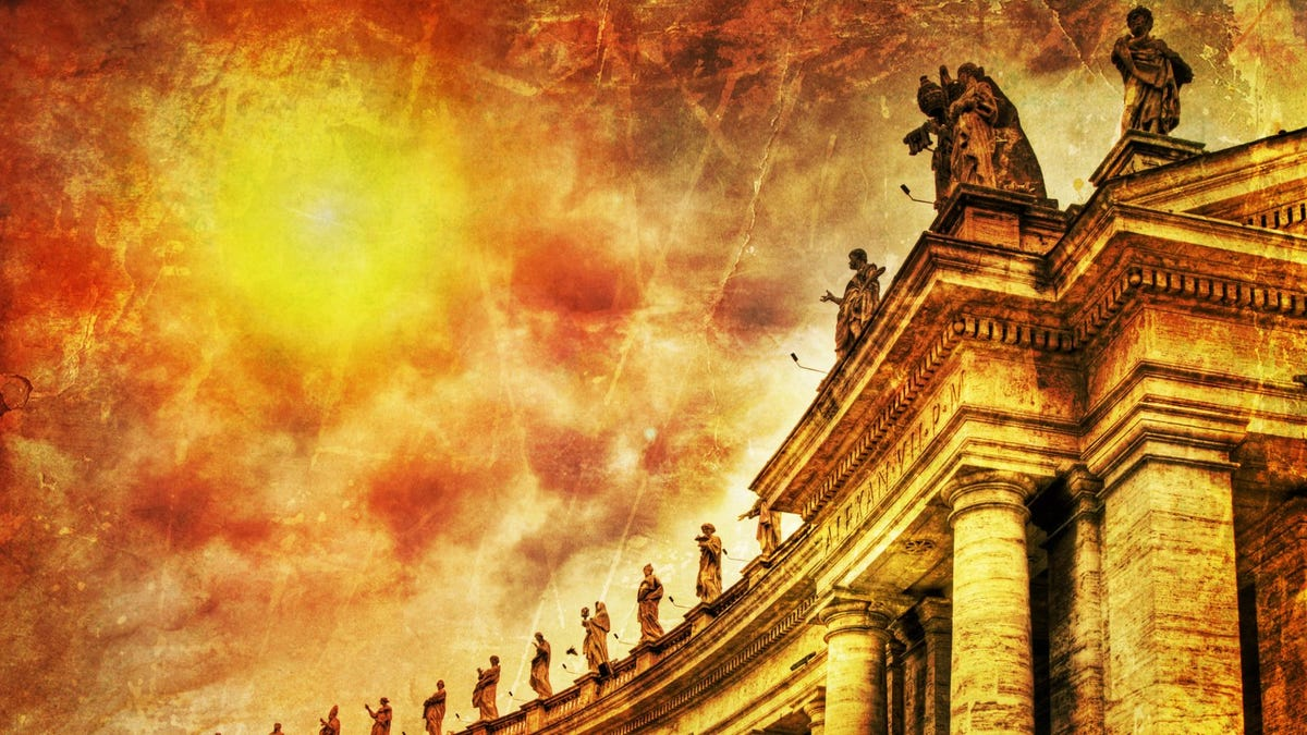 Illustration of Famous colonnade of St. Peter's Basilica in Vatican, Rome, Italy