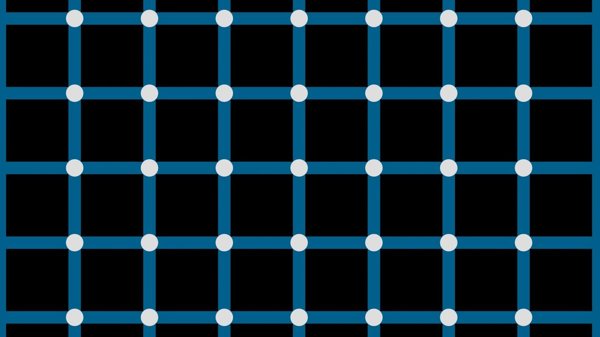optical illusion showing circles at intersections of a grid