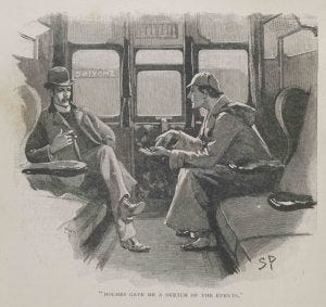 Illlustration of Holmes and Watson on train from The Adventure of the Silver Blaze