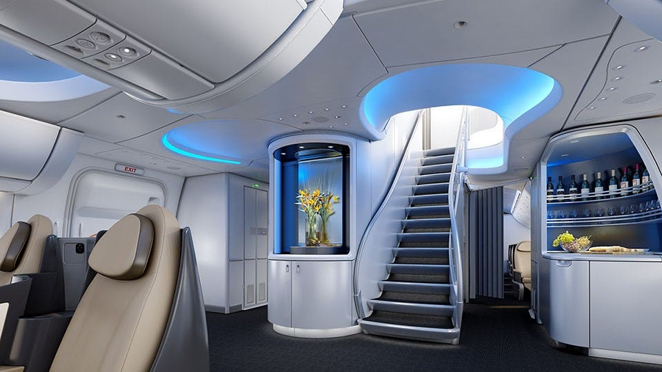 Staircase to first class cabin on a 747
