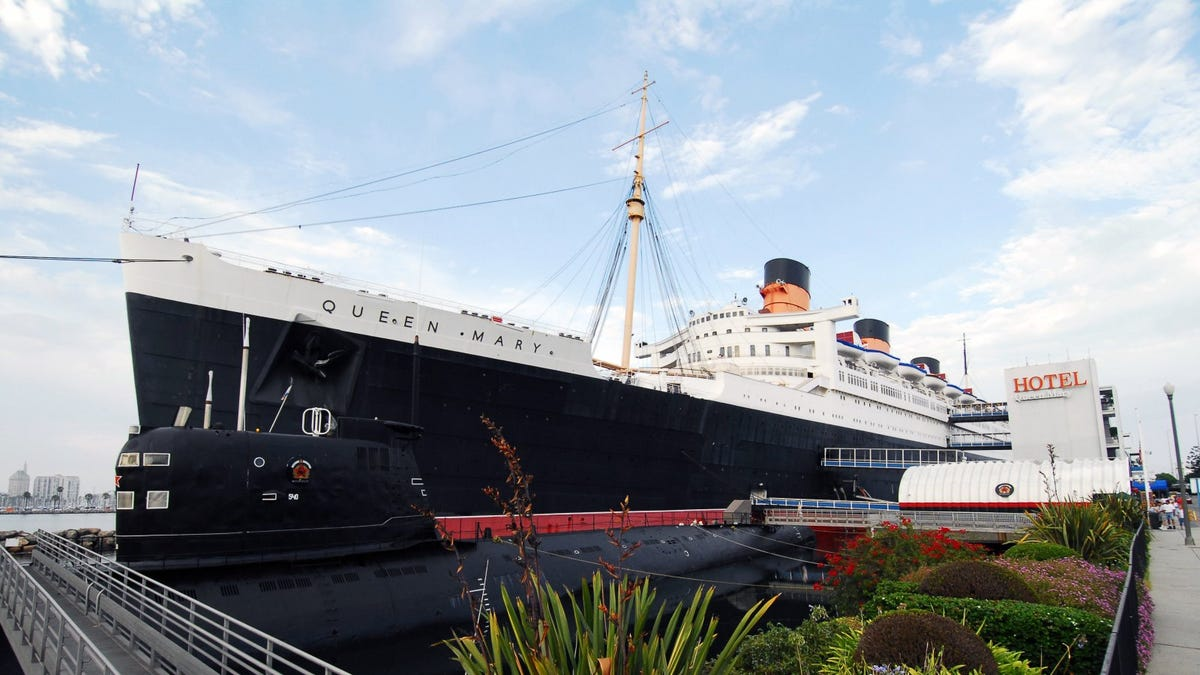 The RMS Queen Mary ship moored in Long Beach