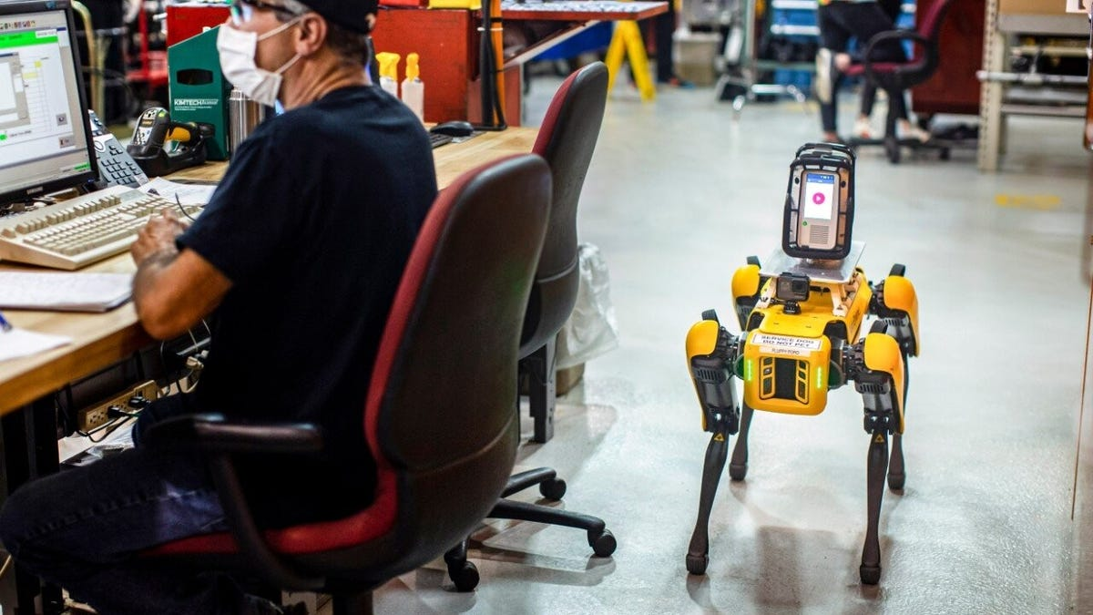 Robot dog next to worker at desk