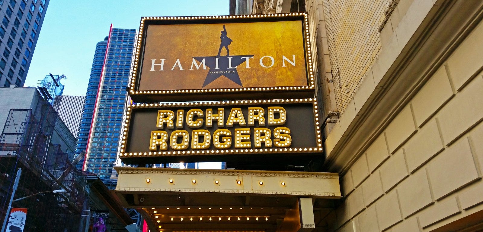 The marquee of Hamilton, An American Musical, playing at the Richard Rogers Theater