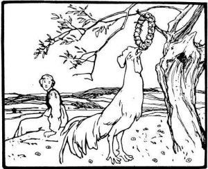 illustration of rooster pulling necklace from tree