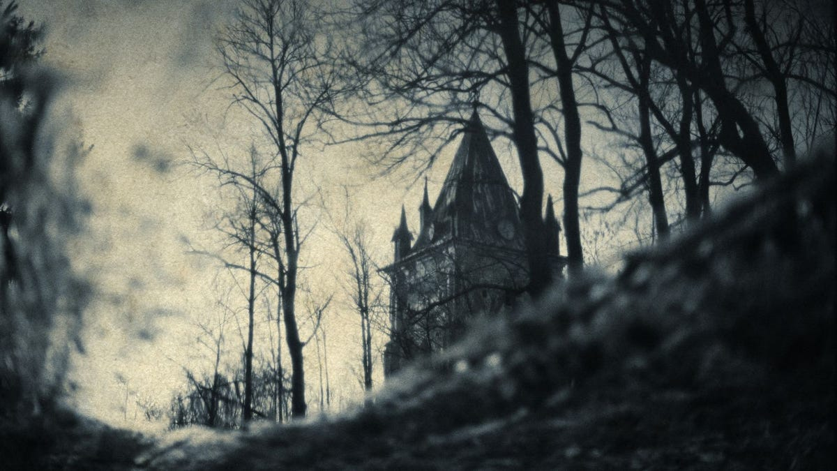 gothic house in creepy wooded landscape