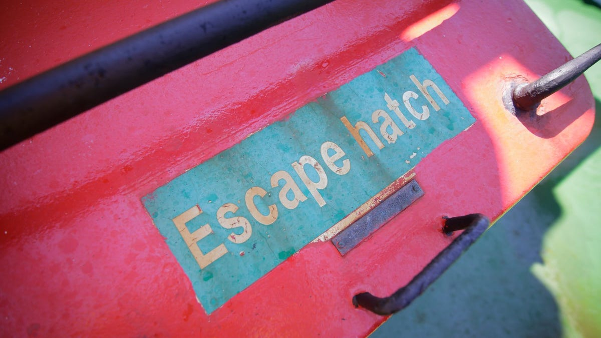 Escape hatch message on a tugboat