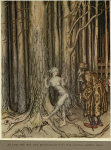 Illustration of bride and groom in woods
