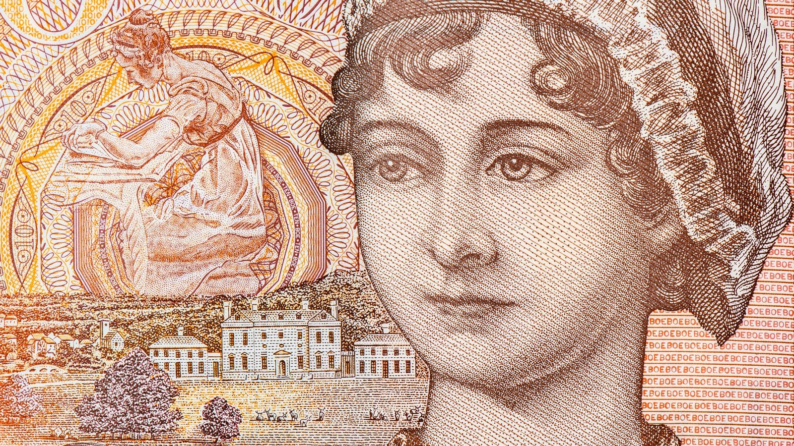 an old paper banknote showing an illustration of Jane Austen
