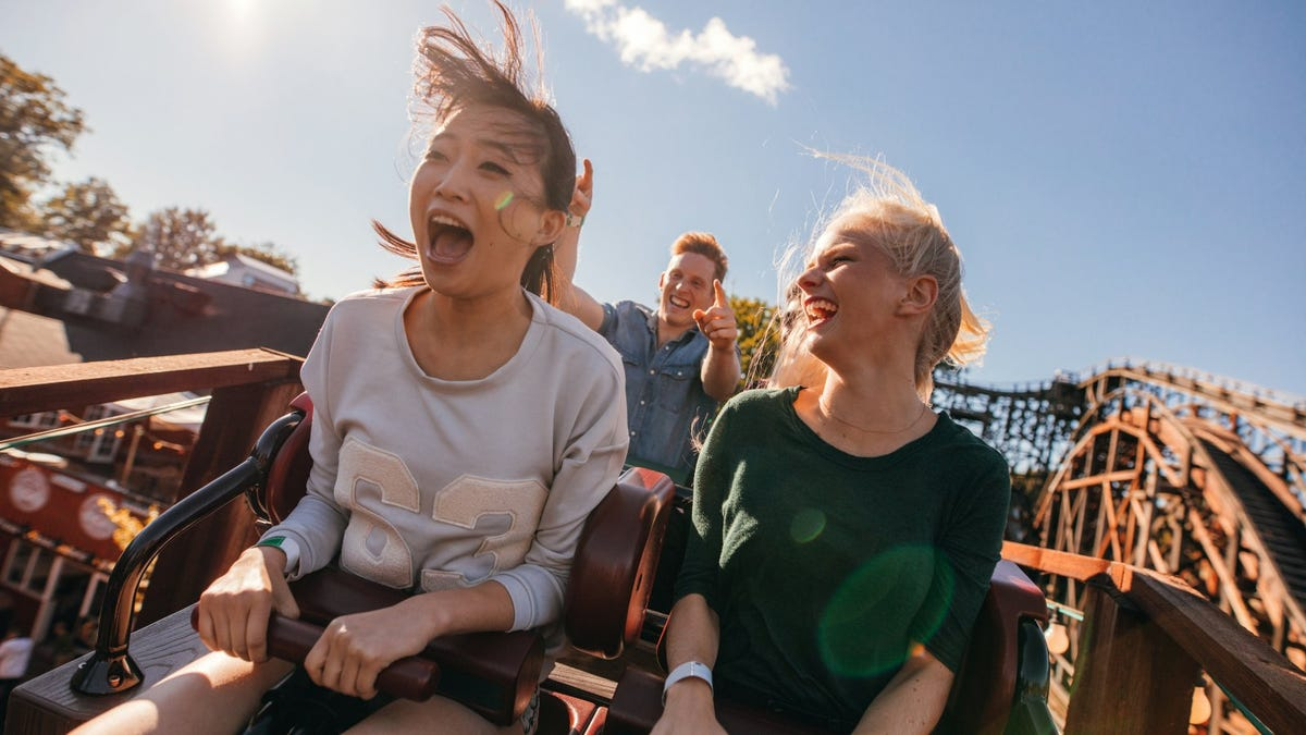Young friends on roller coaster ride