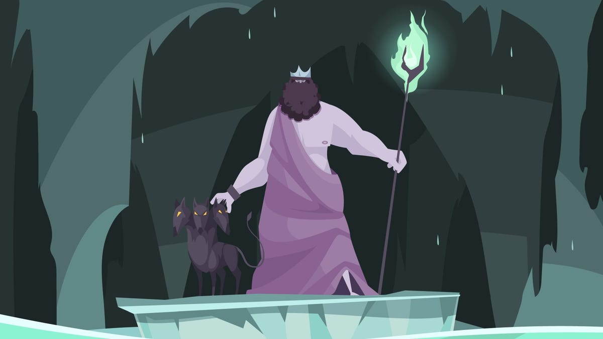 comic-style illustration of hades and cerebus