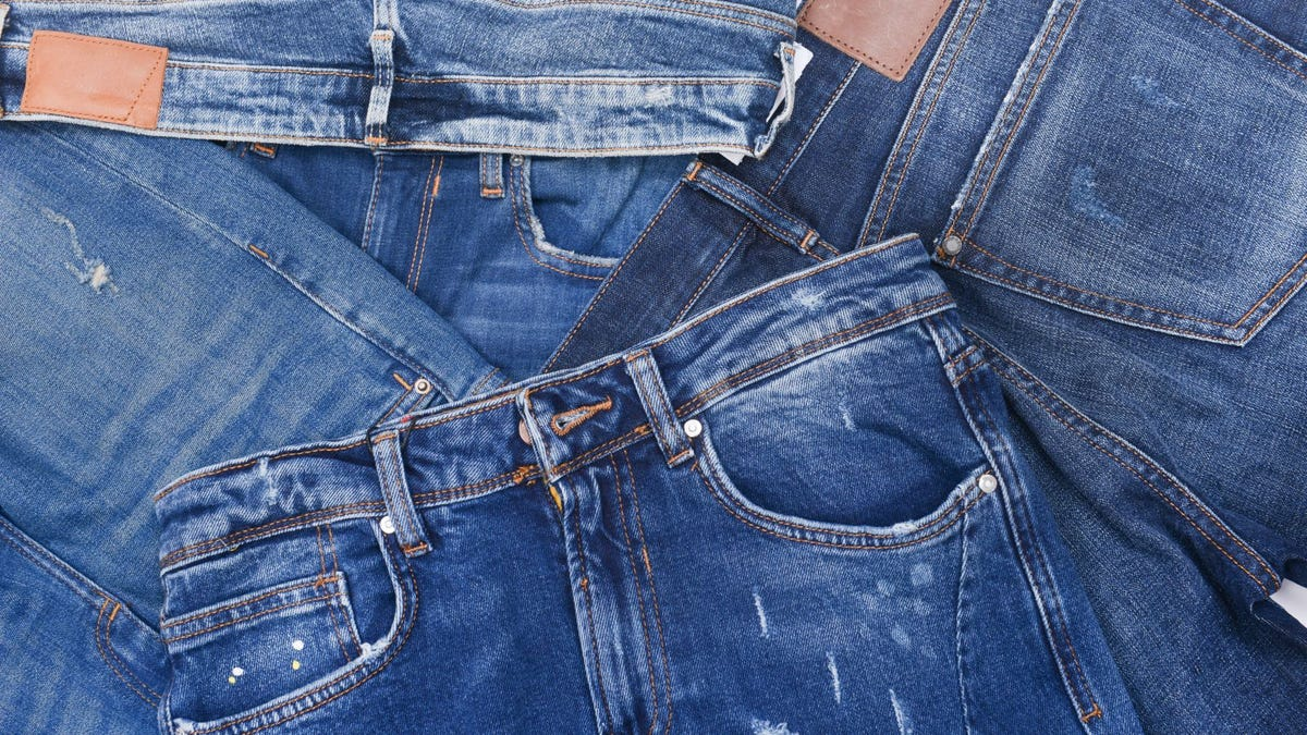 A pile of blue jeans