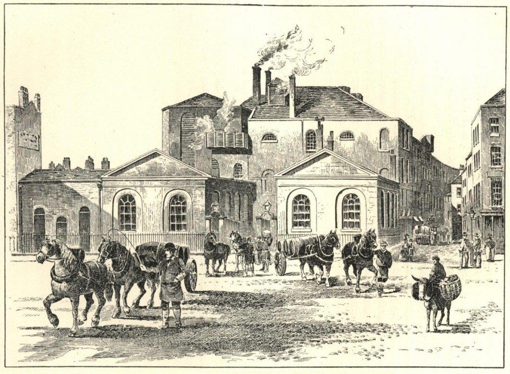 illustration of Horseshoe Brewery after the flood