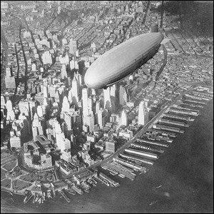 The USS Akron over Manhattan in the early 1930s.