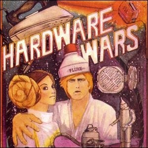 Outer case artwork for Hardware Wars showing the tongue-in-cheek props and actors.