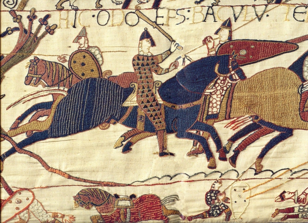 Bayeux Tapestry of Odo, half brother of William the Conqueror, encouraging his Norman chevaliers to charge.
