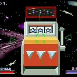 The secret slot machine in the final level of Star Fox.
