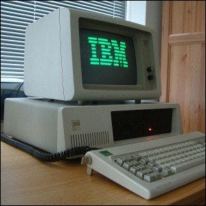 "An IBM PC XT with a double-sided 5.25"" floppy drive."