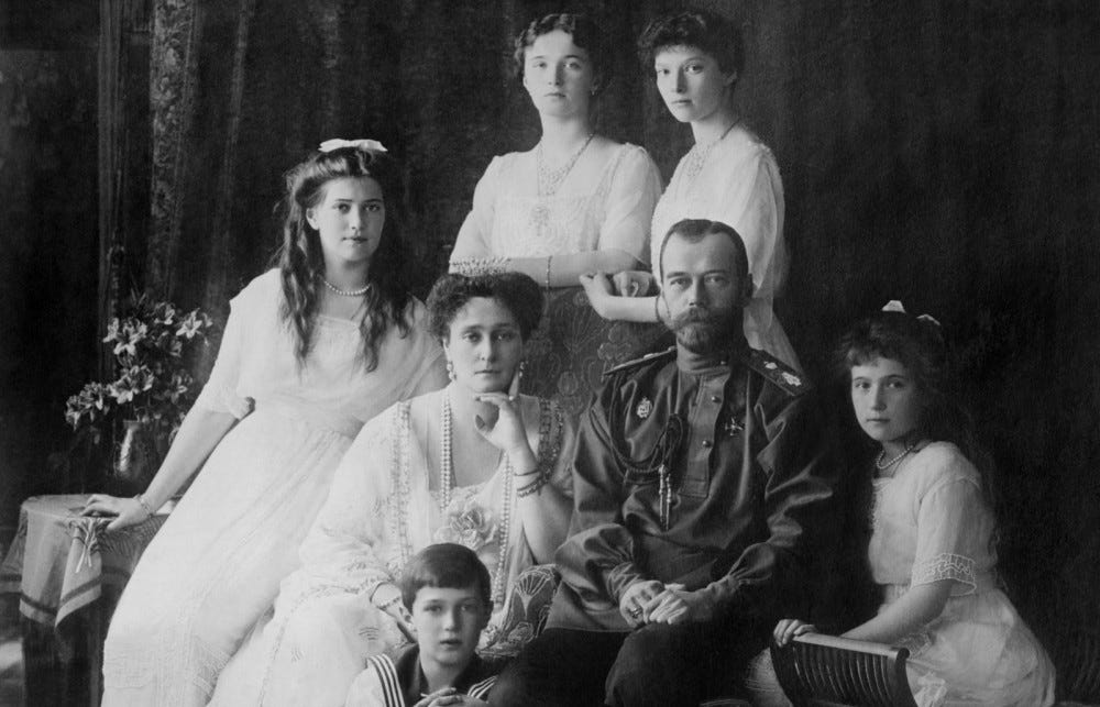 black & white photo of Russian royal family