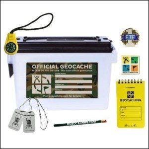 An official ammo box style geocaching kit.