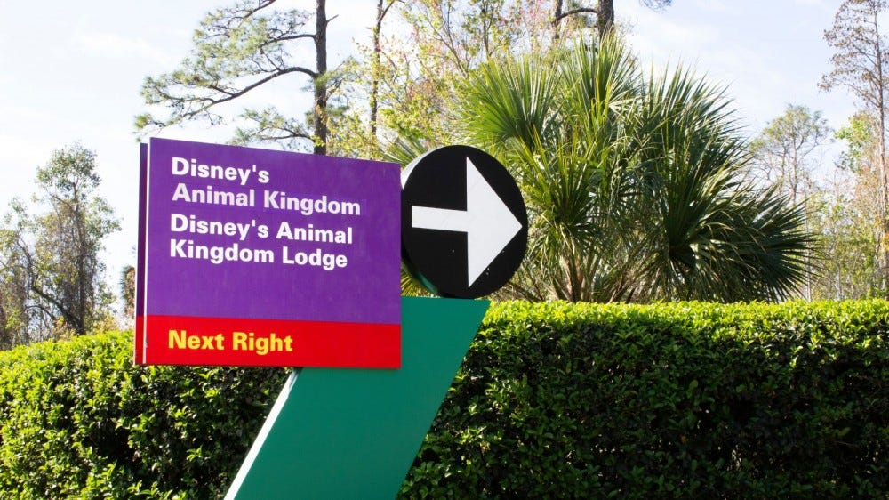 Red and purple sign marking the way to Animal Kingom and Resort at Disney